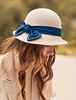 cheap -Luxury Elegant Wool Hats with Bowknot / Crystals / Satin Bowknot 1pc Wedding / Tea Party Headpiece