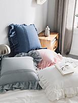 cheap -Pure Cotton Hug Pillowcase Lotus Leaf Backrest Pillow Solid Color Small Fresh Pillowcase
