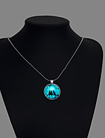 cheap -Pendant Necklace Men's Women's Geometrical Cat Fashion Luminous Silver 60 cm Necklace Jewelry 1pc for Street Daily Club Festival Round