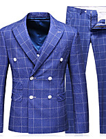 cheap -Men's Wedding Suits 3 pcs Notch Tailored Fit Double Breasted Six-buttons Patch Pocket Checkered Cotton