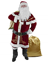 cheap -Santa Suit Cosplay Costume Adults' Men's Christmas Christmas Festival Christmas Festival / Holiday Terylene Red Men's Easy Carnival Costumes Printing / Top / Pants / Shawl / Gloves / Waist Belt