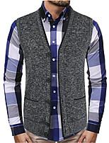cheap -Men's Vest Gilet Street Daily Fall Spring Short Coat Regular Fit Warm Lightweight Breathable Casual Jacket Sleeveless Solid Color Pocket Dark Grey Navy Blue Coffee