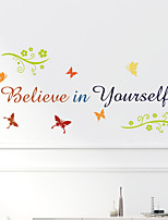 cheap -Believe Color Gradient Flower Vine Butterfly Can Remove Personalized Wall Stickers Home Background Decoration Stickers