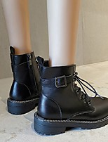 cheap -Women's Boots Round Toe PU Solid Colored Black