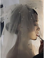 cheap -One-tier Cute / Sweet Wedding Veil Fingertip Veils with Beading / Solid Tulle