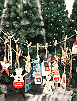 cheap -Creative Christmas calendar pendant wooden label 24 digital countdown gift bag pendant crafts
