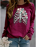 cheap -Women's Sweatshirt Floral Graphic Skeleton Print Sports & Outdoor Casual Daily Hot Stamping Basic Hoodies Sweatshirts  Wine Red Yellow Gray