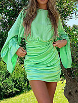 cheap -Women's A Line Dress Short Mini Dress Green Beige Long Sleeve Solid Color Ruched Fall Round Neck Casual 2021 S M L