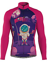 cheap -21Grams Men's Long Sleeve Cycling Jersey Spandex Polyester Red 3D Funny Astronaut Bike Top Mountain Bike MTB Road Bike Cycling Quick Dry Moisture Wicking Breathable Sports Clothing Apparel / Stretchy