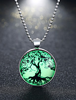 cheap -Pendant Necklace Men's Women's Geometrical Silver Plated life Tree Fashion Luminous Silver 60 cm Necklace Jewelry 1pc for Halloween Street Daily Club Festival Round