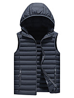 cheap -Men's Vest Daily Winter Regular Coat Regular Fit Warm Casual Jacket Sleeveless Color Block Quilted Blue Army Green Gray