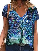 cheap -women t-shirt summer tops plus size short sleeve dandelion geometric tree graphic print pattern loose tee blouse(b blue tree,x-large)
