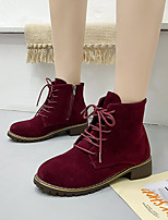 cheap -Women's Boots Chunky Heel Round Toe Booties Ankle Boots Daily Synthetics Solid Colored Burgundy Black Brown