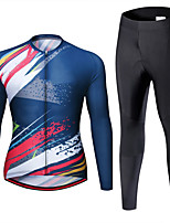 cheap -21Grams Men's Long Sleeve Cycling Jersey with Tights Spandex Blue Graffiti Bike Quick Dry Moisture Wicking Sports Geometic Mountain Bike MTB Road Bike Cycling Clothing Apparel / Stretchy / Athletic