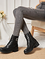 cheap -Women's Boots Cuban Heel Round Toe Booties Ankle Boots Daily PU Buckle Solid Colored Almond Black / Booties / Ankle Boots