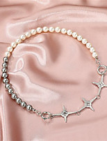 cheap -Necklace Women's Geometrical Pearl Cross Fashion Cool Silver 42 cm Necklace Jewelry 1pc for Gift Daily Work Festival Geometric