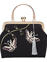 cheap -Women's Bags Polyester Evening Bag Chain Embroidery Vintage Party / Evening Going out Chain Bag Black