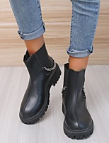 cheap -Women's Boots Round Toe PU Solid Colored Black Beige