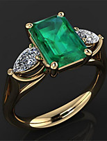 cheap -Ring 3D Green Copper Rhinestone Gold Plated Precious Fashion 1pc 7 8 9 10 / Women's / Engagement Ring
