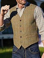cheap -Men's Vest Waistcoat Dailywear Leisure Solid Colored Regular Fit Polyester Men's Suit Khaki - Shirt Collar
