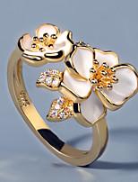 cheap -Women Ring AAA Cubic Zirconia Fancy White Brass Floral Theme Flower Shape Elegant European Sweet 1pc / Women's