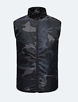 cheap -Men's Vest Gilet Daily Going out Summer Short Coat Zipper Stand Collar Regular Fit Breathable Casual Jacket Sleeveless Plain Pocket Camouflage