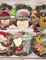 cheap -Christmas Wreath Santa Claus Snowman Deer Solid Wood Vine Ring Pendant Christmas Ornament Door Hanging Wreath