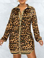 cheap -Women's Shirt Dress Short Mini Dress Brown Long Sleeve Leopard Print Fall Shirt Collar Casual 2021 S M L XL XXL