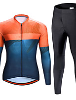 cheap -21Grams Men's Long Sleeve Cycling Jersey with Tights Spandex Blue+Orange Bike Quick Dry Moisture Wicking Sports Graphic Mountain Bike MTB Road Bike Cycling Clothing Apparel / Stretchy / Athletic
