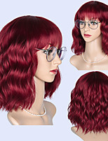 cheap -Synthetic Wig Curly Wavy Bob Neat Bang Wig Short Pink Synthetic Hair Women's Cosplay Soft Party Black Brown