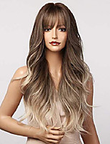 cheap -Ash Blonde Wigs with Bangs, Ombre Brown Blonde Wigs for Women, Glueless Ombre Wavy Wig, Long Hair Synthetic Wig 22