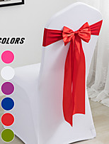 cheap -10 PCS Satin Chair Sashes Bows for Wedding Reception- Universal Chair Cover Back Tie Supplies for Banquet, Party, Hotel Event Decorations Fit Chair Width 35~48cm/13~19inch