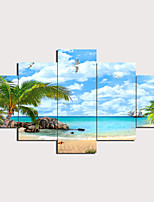 cheap -5 Panels Wall Art Canvas Prints Painting Artwork Picture Seascape Painting Home Decoration Decor Rolled Canvas No Frame Unframed Unstretched