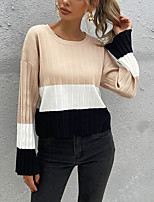 cheap -Women's Pullover Sweater Jumper Knitted Color Block Vintage Style Elegant Long Sleeve Regular Fit Sweater Cardigans Round Neck Fall Winter khaki