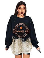 cheap -Women's Sweatshirt Pullover Text Graphic Prints Print Crew Neck Casual Daily Basic Streetwear Hoodies Sweatshirts  Loose Gray Khaki White