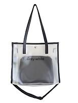 cheap -Women's Unisex Bags PU Leather PVC Plastic Top Handle Bag Zipper Daily Outdoor 2021 Tote Handbags White Black