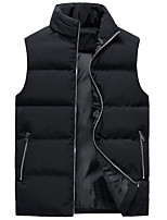 cheap -Men's Vest Gilet Street Daily Going out Fall Winter Regular Coat Regular Fit Thermal Warm Windproof Casual Jacket Sleeveless Solid Color Pocket Khaki Sky Blue Black