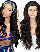 cheap -Long Wavy Headband Wig for Black Women No Replacement Body Wave Synthetic Headwraps Hair Wig 2020 New Fashion