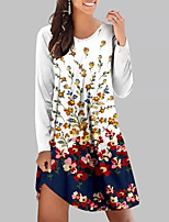 cheap -Women's A Line Dress Knee Length Dress Fuchsia White Black Red Long Sleeve Floral Print Fall Round Neck Casual 2021 S M L XL XXL 3XL