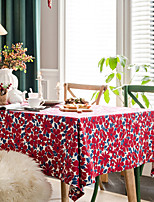 cheap -Table Cloth Cotton Christmas American Style Floral Tabel Cover Table Decorations for Wedding Party Valentine's Day Thanksgiving New Year Family Gathering Rectangule 140*180 cm Red with White 1 pcs