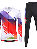 cheap -21Grams Women's Long Sleeve Cycling Jersey with Tights Winter Spandex Red and White Black / Red Bike Quick Dry Moisture Wicking Sports Graphic Mountain Bike MTB Road Bike Cycling Clothing Apparel
