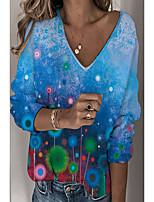 cheap -Women's T shirt Floral Dandelion Long Sleeve V Neck Basic Tops Blue Orange White