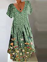 cheap -Women's A Line Dress Knee Length Dress Green Short Sleeve Floral Print Summer V Neck Casual Holiday 2021 S M L XL XXL 3XL