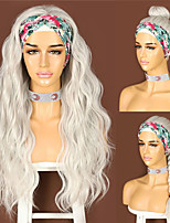 cheap -Headband Wig for Women Long Body Wave Gray White Wigs Daily Party Travel Vacation Female Glueless Hair 2 Free bands