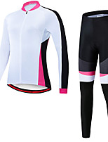 cheap -21Grams Women's Long Sleeve Cycling Jersey with Tights Spandex Polyester White Patchwork Funny Bike Clothing Suit 3D Pad Quick Dry Moisture Wicking Breathable Back Pocket Sports Patchwork Mountain