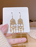 cheap -Women's White Pearl Earrings Tassel Fringe Moon Star Elegant Fashion Pearl Earrings Jewelry Gold For Party Gift Daily Work Festival 1 Pair