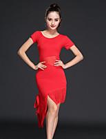 cheap -Latin Dance Ballroom Dance Dress Tassel Solid Splicing Women's Training Performance Short Sleeve High Nylon