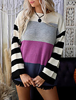 cheap -Women's Pullover Sweater Knitted Striped Stylish Casual Soft Long Sleeve Sweater Cardigans Crew Neck Fall Winter Purple