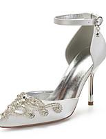 cheap -Women's Wedding Shoes High Heel Pointed Toe Wedding Satin Rhinestone Solid Colored Green / Blue Purple Yellow