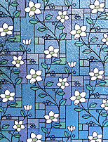 cheap -Geometry Flowers Pattern Matte Window Film Cling Vinyl Thermal-Insulation Privacy Protection Home Decor For Window Cabinet Door Sticker Window Sticker - 100*45CM